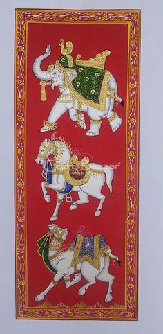Rajasthani traditional painting made on pure silk, depicts the Trio of Elephant - sign of Good Luck, Horse - sign of Power and Camel - sign of Love with red background. The picture is water color based and entirely natural colors are used. This painting is perfect to be used for decorative purposes in corporate reception, offices, hotels and living rooms. #craftsofindia #indianhandicrafts #madeinindia #craftsbazaar #artsandcrafts #handmade