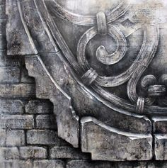 Ian Murphy drawings - Venetian Scroll in Graphite, Mixed media, Oil Paint Code: DRW-11/010 Oil paint, mixed media & Graphite on paper 75cm x 75cm
