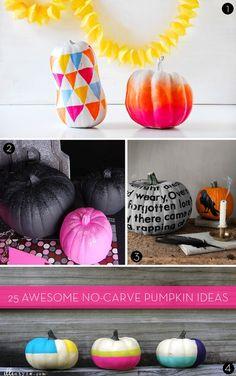 25 #DIY no-carve pumpkin ideas! #Halloween