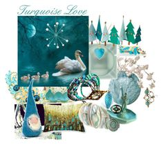 """Turquoise Love"" by plumsandhoneyvintage ❤ liked on Polyvore featuring art, vintage, etsy, Home and jewelry"