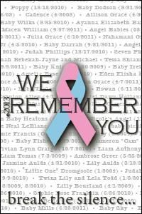 If you have lost a baby to miscarriage, stillbirth, SIDS, birth defects, TFMR, or any other form of infant death you can submit your baby's date and name and they will be remembered and honored in this free Babyloss remembrance! October 15th is National Pregnancy and Infant Loss Remembrance Day!