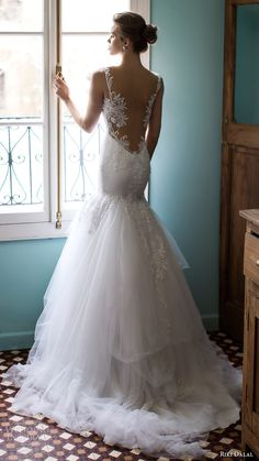 RIKI DALAL #bridal 2016 sleeveless plunging sweetheart lace straps embellished bodice #mermaid #wedding dress (1808) bv elegant #romantic train #weddingdress #weddinggown #bridalgown #lace #engaged #gettingmarried #dreamgown