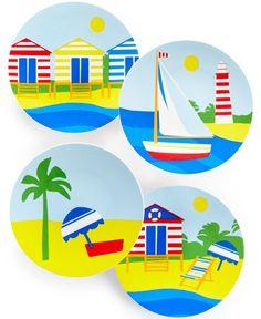 Martha Stewart Collection Set of 4 Coastal Summer Melamine Appetizer Plates