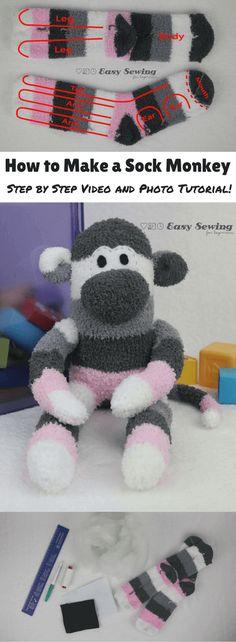 Socks make sock monkeys - a free tutorial on how to make a sock monkey in easy steps. Perfect beginner tutorial.