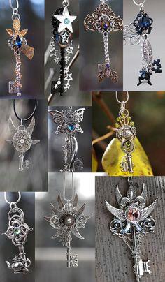 Keys by KeypersCove on deviantART Key Jewelry, Funky Jewelry, Cute Jewelry, Jewelery, Jewelry Accessories, Jewelry Making, 4 Elements, Steam Punk Jewelry, Key Necklace