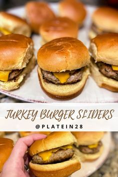 Behold the most simple, tasty and juicy 🍔TURKEY BURGER SLIDERS!🍔 These sliders are perfect for little hands and will satisfy the whole family #turkeyburgersliders #turkeyburgers #sliders #superbowlsnacks #superbowlfood #kidsburgers #kidssliders #lowfatburgers #hearthealthyfood #quickdinner #dinnerforkids #quickrecipes #foodforkids #helpingparents #kidscooking #kidscancook #littlechefs #easymealprep #fastdinnerideas #platein28 Turkey Burger Sliders, Turkey Burger Recipes, Easy Meal Prep, Quick Easy Meals, Popular Cheeses, Slider Sandwiches, Dinner Party Recipes, Dinner Ideas, Dinner Dishes