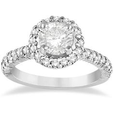Allurez Round Diamond Halo Engagement Ring Setting Palladium (0.75ct) ($1,740) ❤ liked on Polyvore featuring jewelry, rings, bridal engagement rings, clear crystal jewelry, bride jewelry, clear jewelry and bridal jewelry