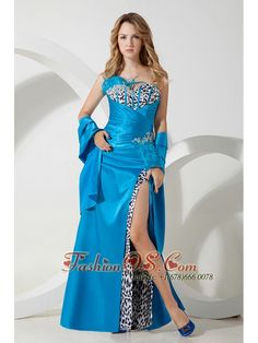 Teal and Leopard Print Split Prom / Homecoming Dress Sweetheart  http://www.fashionos.com  If you are looking for a dress that was made to show off your curves, this is definitely the one. It is made from satin and Leopard fabric with a clump of feather on the side of the bust and waist where the intricate beading and rhinestones lie. The striaght skirt features an two-layer hem with a sexy high slit in the front but without being too revealing.