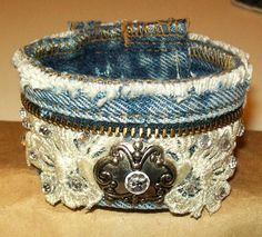 Blue Jean Denim & Lace Cuff Bracelet by TastefulOptions on Etsy, $27.00