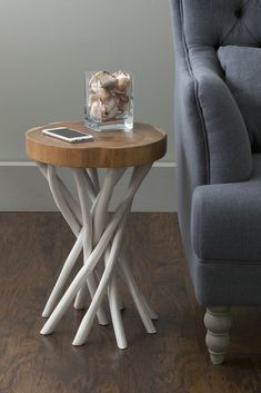 East At Main Teakwood Round Accent Table Lancer White Diy End Tables, End Table Sets, Wood End Tables, End Tables With Storage, Side Tables, Furniture Sale, Rustic Furniture, Table Furniture, Living Room Furniture