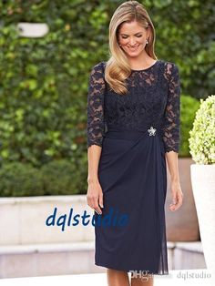 Navy Blue Mother Of The Bride Dresses 2017 Pleats Chiffon With Floral Lace Top Elegant Knee Length Mother Of The Bride Dresses Clearance Mother Of The Bride Dresses Designer Mother Of The Groom Dresses From Dqlstudio, $82.71| Dhgate.Com