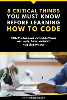 If you're thinking about starting to learn programming or web development, this post is for you! Find out what you should know before learning to code to achieve your goals faster. Find the right tools, programming languages, and skills to learn for your portfolio to start a developer career or launch a freelancing business of your own. #mikkegoes #coding #programming #technology #webdev #webdevelopment #webdeveloper #tech #career #learning #learntocode