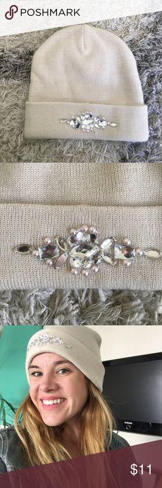 Steve Madden Beanie Cream white Steve Madden beanie with jewel and pearl detailing. Super cute! Steve Madden Accessories Hats