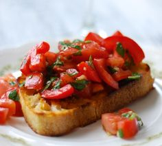 bruschetta - Toast the bread over an open fire - rub garlic clove directly on hot toast, smother with fresh chopped tomatoes that have been marinating in EVOO and basil. Italian peasant food at its BEST!!