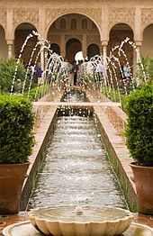 Palacio de Generalife-the shooting water sprays were added by the Castillians after Isabella reclaimed Grenada