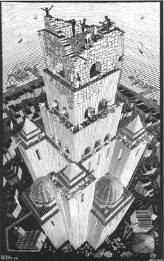 M.C. Escher - Tower of Babel The illustration on the previous page represents the Tower of Babel. According to the Quran (28:38) and the Bible (Genesis 11:1-9), a tower was erected in Babylonia with the intention to reach to heaven and God. Their presumption, however, angered God who interrupted the construction by causing among them a previously unknown confusion of languages and scattered them over the face of the earth.