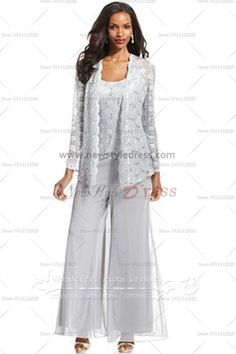 Three Piece mother of the bride pants suits with lace jacket nmo-034