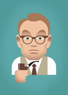 """A vector illustration: Jared Harris as Lane Pryce of """"Mad Men"""" Portrait Illustration, Character Illustration, Digital Illustration, Stanley Chow, Character Inspiration, Character Art, Drug Packaging, Jared Harris, Poster Drawing"""