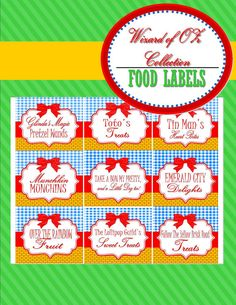 Wizard of Oz. FOOD LABELS/ place cards - Girls Birthday Party - Boys Party - Dorothy - Party Printables - Krown Kreations - INSTANT Download...