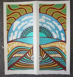 Original lot of TWO (2) silkscreen concert posters for Phish in Portsmouth, Virginia in 2014. 10 x 22 inches. They are printed on Watercolor Paper with Acrylic Inks. The posters are signed and numbered out of 100 by the artist Tripp.  Matching numbers.