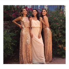 Our sparkly photo shoot! Our girls look gorgeous in sequin @donnamorgannyc! Rent the Olive, Courtney and Tiffany bridesmaid dresses with vowtobechic.com.