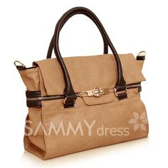 $18.56 Retro Style Women's Tote Bag With Color Matching and Zipper Design