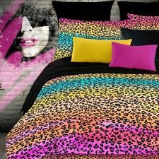 FUN PINK NEON PURPLE YELLOW COOL BLACK GIRLS 6PC COMFORTER SET GIRLS - TWIN SZ