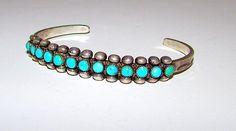"Old Pawn Native American Zuni Sterling Silver Cerillos Mine Turquoise Cuff Bracelet ""Snake Eyes"" Design"