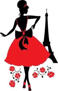 Retro woman red and black silhouette with Eiffel Tower Black Silhouette, Woman Silhouette, Silhouette Vector, Black And White Art Drawing, Decoupage Vintage, Retro, Lady In Red, Drawings, Illustration