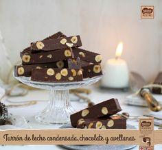 Turrón de leche condensada, chocolate y avellanas