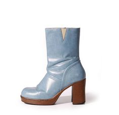f44137a45ff1 90s Vintage Baby Blue Vegan Leather Platform Boots Chunky Heel 1990 s Club  Kid Raver Ankle Boot Women s Size US 7.5   UK 5.5   EUR 38