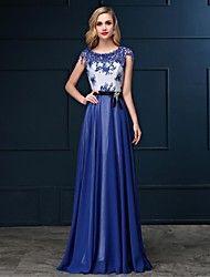 スレンダーライン+フォーマルイブニングパーティー+ドレス+ブルー/ロイヤルブルー/ホワイト+シフォ...+–+USD+$+99.99