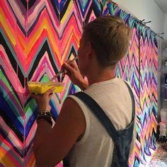 Chevron Art, Crazy Art, Handmade Clutch, Happy House, Weird Art, Australian Artists, Fabric Painting, Workshop, Fabrics