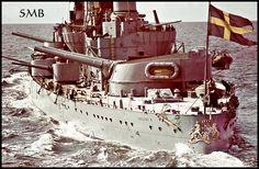 Swedish battleship HMS Gustav V. I never knew the Swedes had a battleship Naval History, Military History, Swedish Navy, Capital Ship, Man Of War, Big Guns, Navy Ships, Speed Boats, Harbin