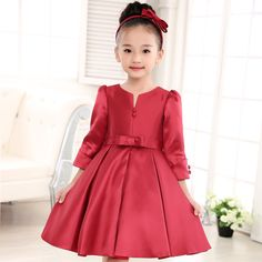 2016 Children's clothing Red Flower Girls Dress Kids Princess Sleeveless Vest Dresses Big Bow Happy New Year costuming 90-150