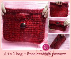 If you can& tell by the name of this unique crochet pattern, this Crochet Clutch Bag is double the crochet fun for what you have to make. You only have to work up one crochet bag, and it also ends up being a clutch at the same time! Crochet Clutch Bags, Free Crochet Bag, Crochet Tote, Crochet Handbags, Crochet Purses, Crochet Gifts, Best Leather Wallet, Bag Pattern Free, Clutch Pattern