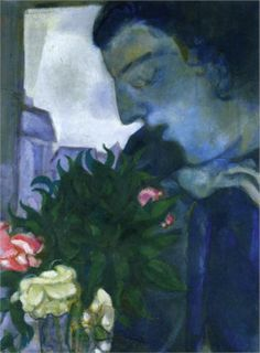 """Marc Chagall, Self Portrait in Profile, 1914 """"I had only to open my bedroom window, and blue air, love, and flowers entered with her."""" Chagall"""