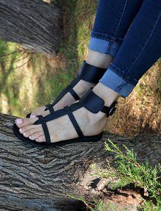 Nero sandali gladiatore caviglia sandali Sandali donna