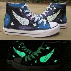 Harajuku luminous wings hand painted canvas shoes