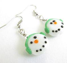 Snowman Earrings Fun Snowman Earrings by EarthlieTreasures on Etsy