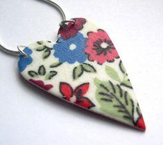 Hardened Liberty of London Fabric Heart Necklace