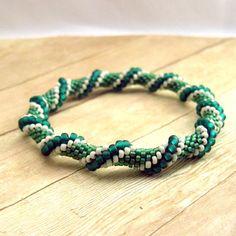 Bead Crochet Bangle Bracelet, Dark Green, Light Green, Ivory, Seed Bead Tube, Handmade Beaded Jewelry, Fashion Accessory