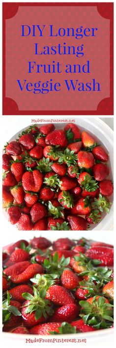 Washing my strawberries in this solution makes them last so much longer. It worked on all my other fruits too! MadeFromPinterest.net