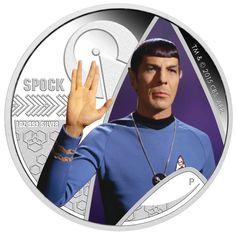 TUVALU 2015  1 $ Dollar - Star Trek - Mr. Spock - The Original Series - 1 Oz. Silver Proof Coin in Color. TUVALU 2015  1 $ Dollar - Star Trek - Mr. Spock - 1 Oz. Silber Farbe in Polierter Platte.