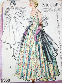 Vintage 50s Dress Pattern McCall 9568 by ThePatternSource