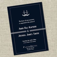 Two Anchors Gay Wedding or Commitment Ceremony Invitation