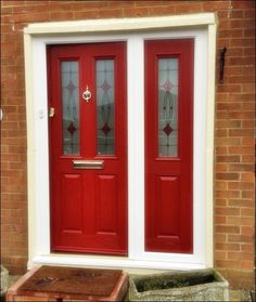 Fire Engine Red Composite Front Entrance Door Supplied And Installed By Unicorn Windows Ltd Of Leighton