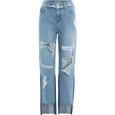 SJYP Distressed Cropped Jeans (730 BRL) ❤ liked on Polyvore featuring jeans, bottoms, pants, denim, trousers, blue, ripped jeans, torn jeans, zipper jeans and 5 pocket jeans