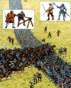 Batalla de Formigny 1.450. Segunda fase. Los ingleses forman un arco con arqueros y hombres de armas junto al río. 1 cañón ligero frances. 2 arqueros y hombres de armas ingleses. Autor : Adam Hook para Osprey