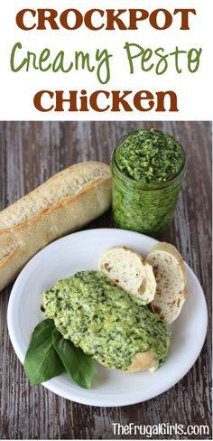 Crockpot Creamy Pesto Chicken Recipe! ~ from TheFrugalGirls.com ~ go grab your Slow Cooker and get ready for the most delicious Chicken Dinner!!